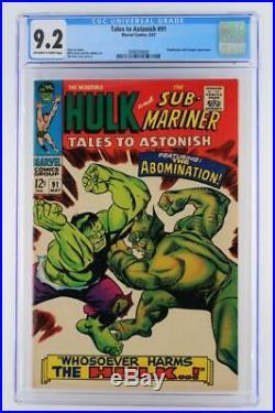 Tales To Astonish #91 CGC 9.2 NM- Marvel 1967 -Hulk- Sub-Mariner