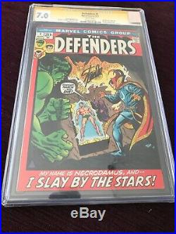 The Defenders #1 CGC 7.0 1972 Signed by Stan Lee on 7/11/15 1st Necrodamus