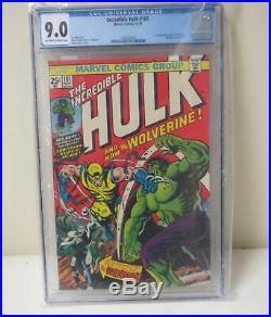 VINTAGE 1974 Incredible Hulk #181 1st appearance WOLVERINE CGC 9.0